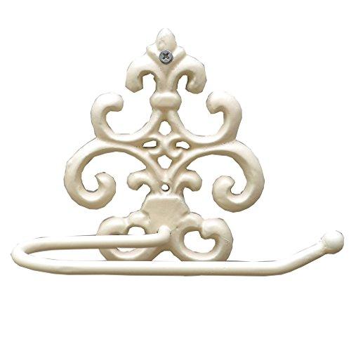 Ornate Fleur de lys en fonte Style Rouleau de papier toilette en blanc ivoire–Élégant support de papier toilette mural avec sur Campagne française Motif exclusif au Dibor. Cadeau pratique Idéal pour mariage, anniversaire ou Crémaillère. H14X W12x H