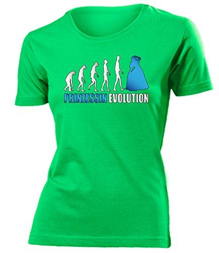 644 Damen T-Shirt (F-Kellygreen-Weiss-Blau) Gr. XXL (Prinzessin Und Märchenprinz Kostüme)