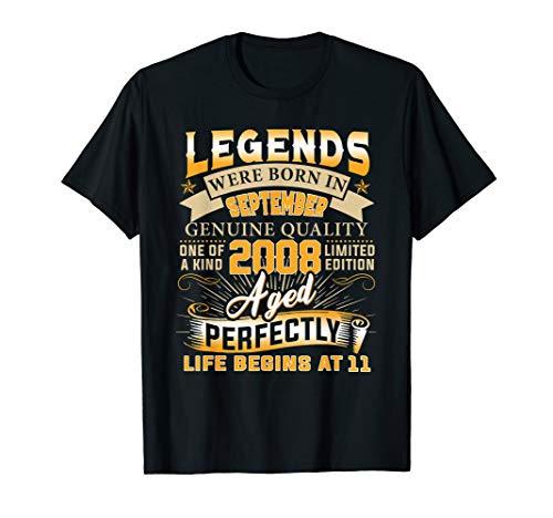 Legends Were Born In September 2008 TShirt 11th Birthday -