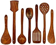 Classic Shoppe Wooden Serving and Cooking Spoons Wood Brown Spoons Kitchen Utensil Set of 7