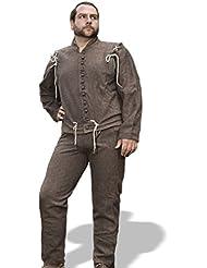 Chaqueta Chaleco con los Brazos desmontables -Marrón natural Color, Chaleco medieval en lana, Ropa medieval, Vestimenta medieval, Recreación histórica, Rol en vivo
