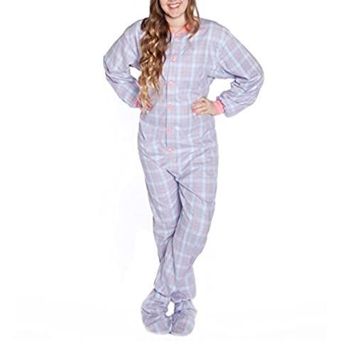 Big Feet Official Plaid-Rose/Bleu - 100% coton-flanelle Pyjama 108 à pied pour adulte