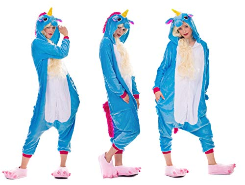 Einhorn Pyjamas Kostüm Jumpsuit Erwachsene Unisex Tier Cosplay Halloween Fasching Karneval Plüsch Schlafanzug Tierkostüme Anzug Flanell, S,Blau