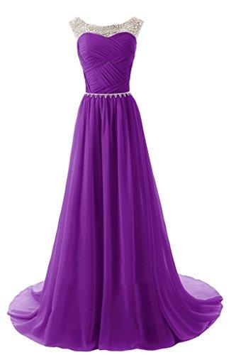 Sunvary Elegant Neu Rund Steine Chiffon Traeger Abendkleider Lang Mutterkleider Partykleider Damen Violett