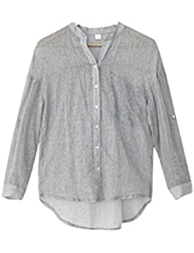 La Mujer Casual 3 / 4 Manga Boton Stand Collar Suelta De Algodón Camisa De Lino Blusa Asimetrica Top