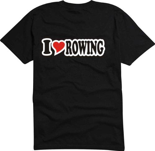 T-Shirt Herren - I Love Heart - I LOVE ROWING Schwarz
