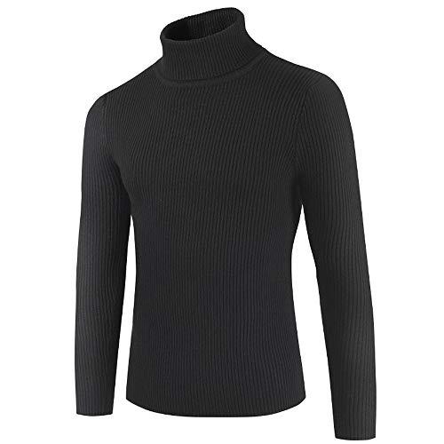 FRAUIT Herren Herbst Winter Rollkragen Langarm Pullover Männer Slim Strickjacke Cardigan Sweater mit Stehkragen aus Hochwertiger Baumwollmischung Sweatshirt Hemd Shirt Top Bluse