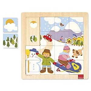 Goula - Puzzle Invierno, 16 Piezas de Madera (Diset 53088)