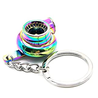 Nicedier-Tech Turbo Schlüsselanhänger, Creative Auto Parts Modelle Spinning Turbo Turbolader Schlüsselanhänger Ring-Rainbow