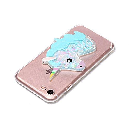 Cover iPhone 7 8 Unicorno, E-Unicorn Custodia Cover Apple iPhone 7 8 Brillantini Glitter 3D Rosso Unicorno Liquido Trasparente con Disegni Cristallo di Bling Silicone Ultra Sottile Morbida TPU Gomma C Blu