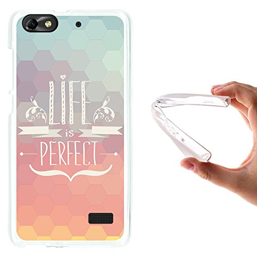 Huawei G Play Mini - Huawei Honor 4C Hülle, WoowCase Handyhülle Silikon für [ Huawei G Play Mini - Huawei Honor 4C ] Satz - Life is perfect Handytasche Handy Cover Case Schutzhülle Flexible TPU - Transparent