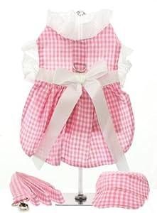 UrbanPup Pink Gingham / White Satin Ribbon Harness Dress, Lead & Cap