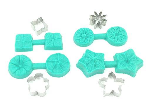 Sugar and Cakes 8 TLG. Blume mit AUSSTECHER aus Edelstahl Veiner 3D SILIKON Form Tortendeko Ausstechform Marzipan Fondant
