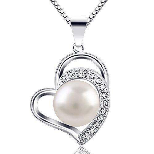 B.Catcher Kette Perle Damen Herz Halskette 925 Sterling Silber Anhänger Schmuck 45CM Kettenlänge Geschenk für Damen