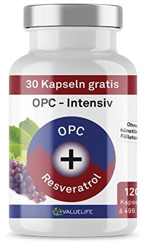 OPC Kapseln Intensiv: Traubenkernextrakt & Resveratrol - Super Antioxidans. Ohne Zusatzstoffe. 120 vegane Kapseln. Laborgeprüft mit Zertifikat von VALUELIFE