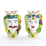 Teste di Moro in Ceramica, Coppia Teste di Moro di Caltagirone Fatte a Mano
