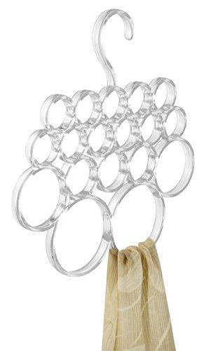 Foto de mDesign Percha para pañuelos – Colgador de pañuelos, chales, bufandas y complementos - Organizador de armarios para accesorios con 18 prácticos aros - Color: Transparente