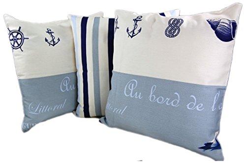 Möwe Maritime Kissenhülle 50x50 cm 3er Set Blau weiß Nautik Kissen Cushion Case J....
