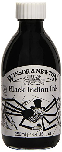 Winsor & Newton - Flacone d'inchiostro resistente all'acqua, 250 ml, colore: Nero indiano