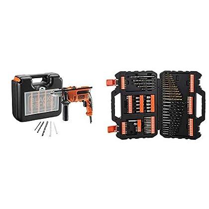 BLACK+DECKER CD714CRESKA-QS - Taladro percutor con maletin 710W + BLACK+DECKER A7200-XJ - Juego de 109 piezas para atornillar y taladrar