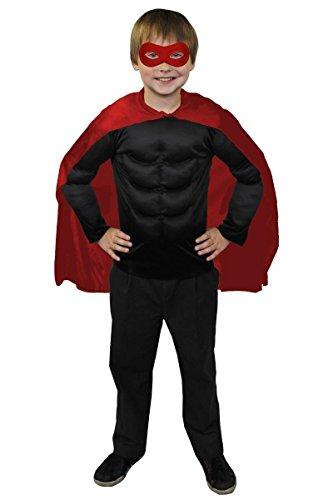 ILOVEFANCYDRESS SUPERHELDEN Hero Kinder Jungen MÄDCHEN KOSTÜM VERKLEIDUNG =ROTER UMHANG+ROTE Maske +MUSKELSHIRT IN 6 Farben+ 2 GRÖSSEN=Fasching Karneval=SCHWARZES Muskel Shirt-XLarge (Daredevil-kostüm Für Kinder)