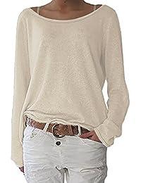 16dc5301e9c ZANZEA Women s Sexy Casual Autumn Loose Round Neck Long Sleeve Tops Blouse  Jumper T-Shirt