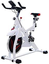 Vélo d'appartement exercice fitnesse cycle cardio avec écran LCD hauteur réglable blanc neuf 69