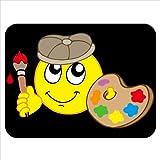 Smiling Painter con spatola, pennello, colore: rosso-Tappetino per Mouse in gomma spessa con finiture morbide e confortevoli