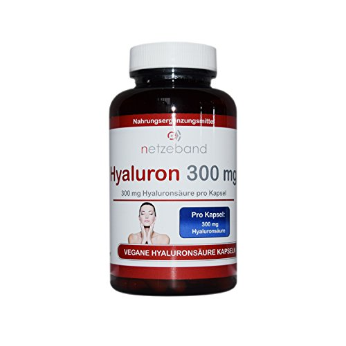 Premium Hyaluron Kapseln 300 mg pro Kapseln |180 Hyaluronsaeure Kapseln - Nahrungsergänzungsmittel für Haut Anti Aging und Gelenke - Premium Qualität - Made in Germany