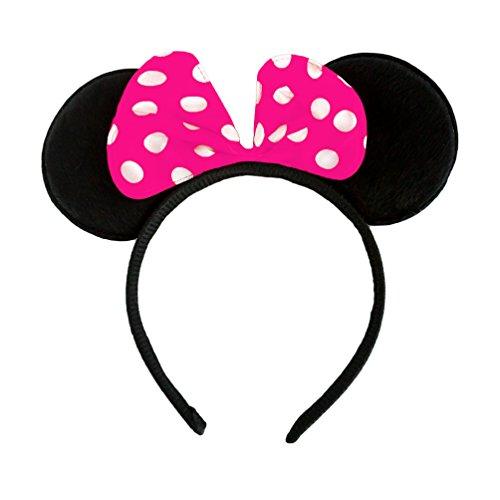 Oblique-Unique® Haarreifen mit Maus Ohren Minnie Mouse mit Schleife in Pink (Maus Disney Ohren Minnie)