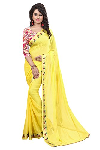 Vastra fashion women's jacquard Multicolor bollywood saree with blouse piece