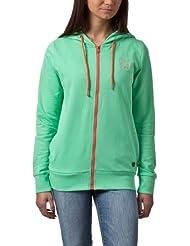 Eight2Nine Damen Sweat Jacke Hoodie mit farbigem Zipper Label Stickerei