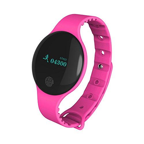 Muamaly Fitness Armband Mit Blutdruckmessung, Pulsmesser Wasserdicht Fitness Tracker Aktivitätstracker Pulsuhren Smartwatch Bluetooth Smart Watch Sport Armband Für iPhone Android Handy (Rosa)