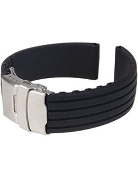 Gleader Uhrenarmband, Armband, Silikon, Gummi, Faltschliesse, wasserfest, 18 mm