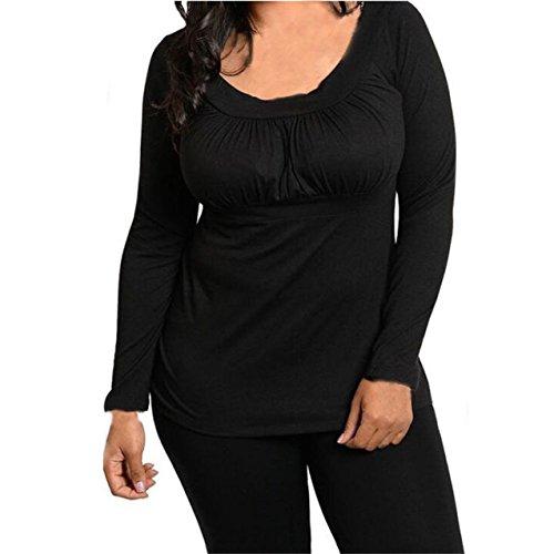 LHWY Donne Moda Manica Lunga Camicia Camicetta Casual Top T- Shirt Nero