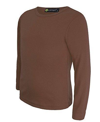 Kinder Uni Einfach Top Langärmelig Mädchen Jungen T-Shirt Oberteile Crew Uniform T-Shirt - Braun, Damen, 146-152