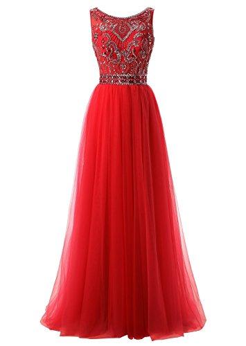 Callmelady Hoher Hals Tüll Abendkleider Lang Elegant für Hochzeit Ballkleider Damen mit Schlüsselloch Zurück (Rot, EU38) (Rote Schlüsselloch)