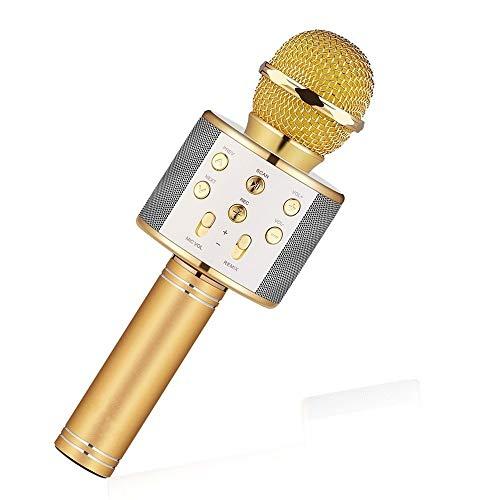 Mikrofon Handheld Bluetooth Wireless Karaoke Microphone Phone Player Mic Speaker Record Music Ktv Microfone,Gold