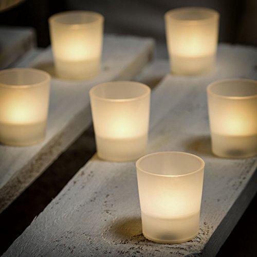 12 Tea Light a batteria con bicchierino opalescente 5 x h 5,5 cm, led bianco caldo, luci a batteria, luci di Natale, candeline led