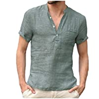 DressU Men Linen Pure Color Shirts Short Sleeve Stand up Collar Tees Top Dark Green XS