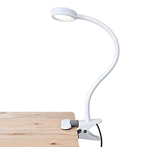 LED Buchleselampe, LEPOWER klemmleuchte dimmbar mit USB Netzteil, Klemmlampe mit Schalter für 2 Farbmodi und 2 Helligkeitsstufen, flexibel Schwanenhals LED Schreibtischlampe für Bett, Kinder,Weiß