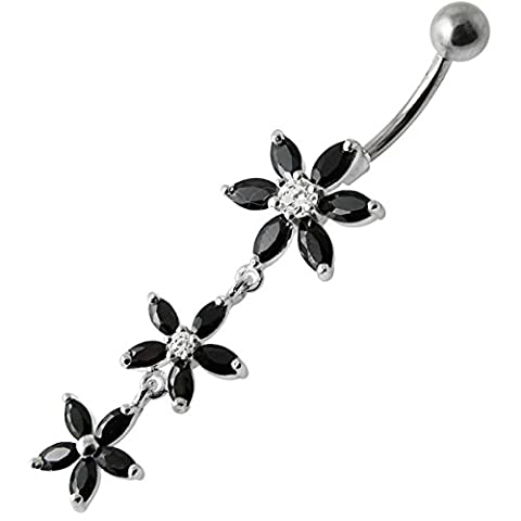 Black Crystal Stone Trendy Triple Flower Design 925 Sterling Silver