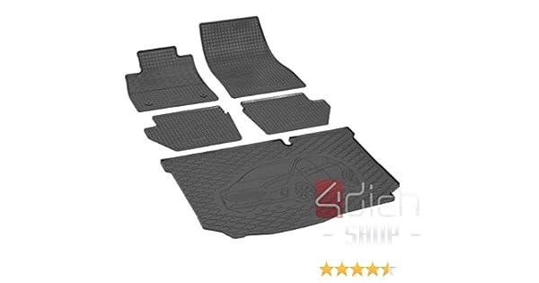 Set di tappetini in gomma e vasca per bagagliaio compatibili con Ford Fiesta Hatchback dal 2017.