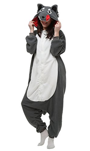 Tier Erwachsenen Halloween Kostüme (Aivtalk Jumpsuit Tier Cartoon Onesie Schlafanzug Fasching Halloween Kostüm Sleepsuit Pyjama Cosplay Fleece-Overall Nachtwäsche Erwachsene Unisex Kigurumi Tieroutfit - Grau)
