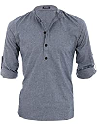 Sourcingmap Allegra K Men Grandad Collar Roll Up Sleeves Heathered Henley Shirt