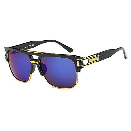 SHEEN KELLY Retro Oversized Sonnenbrille Metall Rahmen großen brille Square - Spiegel herren damen Eyewear hälfte frame piloten Gold UV400