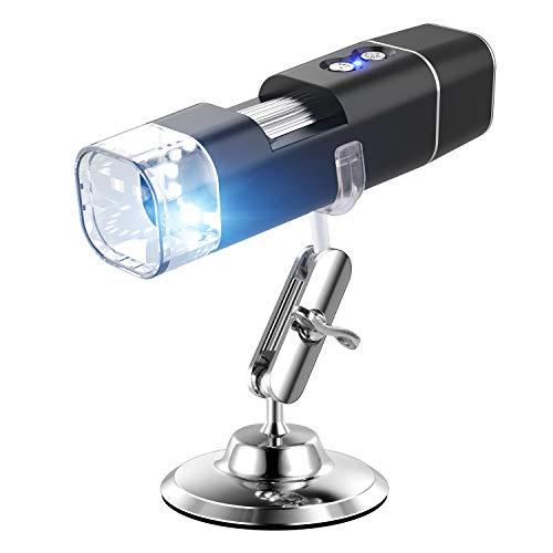 WiFi USB-Mikroskop, drahtloses digitales Kindermikroskop, wiederaufladbar, tragbar mit 1080P-Auflösung, 1000-fache Vergrößerung LED-Leuchten für Android und iOS Smartphone oder Tablet, Windows Mac PC (Tragbare Digital-mikroskop)