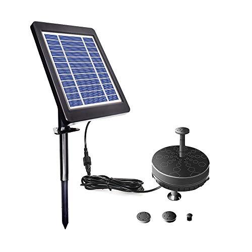 Decdeal Solar Springbrunnen 6V 3.5W Brunnenpumpe Solarbetriebene Bürstenlose Teichpumpe Eingebaute Batterie mit LED Licht für Patio Garden Pond Pool Birdbath