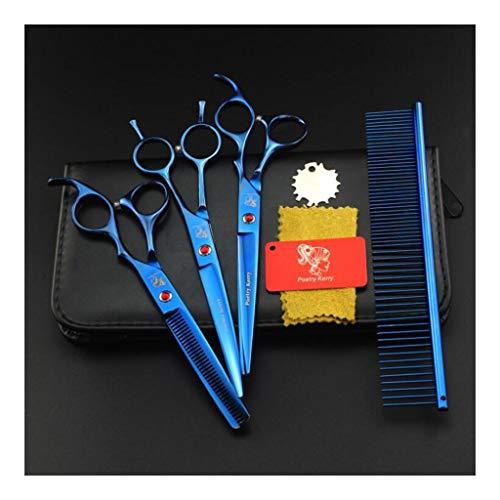 Pet Grooming Scissors - 5-teiliges Set 7-Zoll-gerade, dünne und gebogene Scheren Set Comb, Dog Grooming Tools -