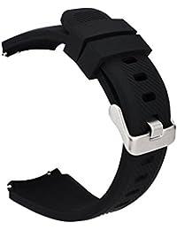 MroTech 22mm Bracelet de Montre en Silicone Bande de Poignet Compatible pour Samsung S3 Frontier/Classic/Galaxy Watch 46mm/Huawei Watch 2 Classic/GT/GT2/GT Active/Elegant Band de Remplacement Noir